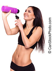 Fitness woman with bottle of water