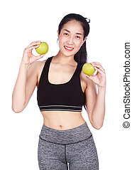 fitness woman with green apple isolated on white background