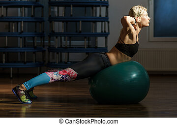 Fitness woman with gym ball