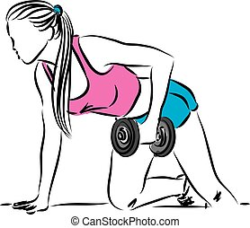 fitness woman work out illustration