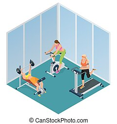 Fitness woman working out on exercise bike, Young woman with barbell flexing muscles,  Pretty girl working out in a treadmill at the gym. Flat 3d isometric vector illustration.