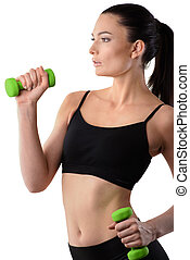 Fitness woman working out with dumbbell - Fitness woman...