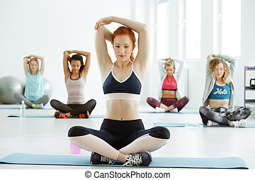 Fitness women and stretching