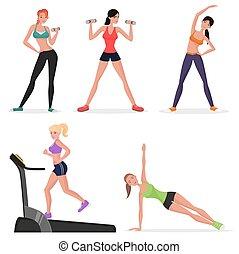 Fitness women female in gym set. Healthy lifestyle girls make yoga exercises and gymnastics. Cardio workout.