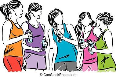 fitness women runners bottle of water vector illustration