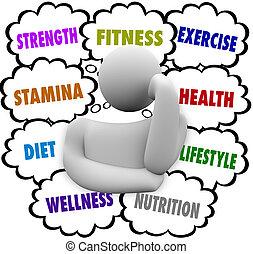 fitness, woorden, persoon, denken, oefening, dieet,...
