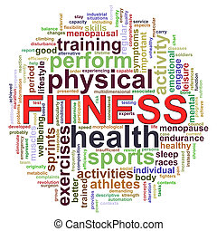 Fitness worcloud word tags - 3d Illustration of Wordcloud...
