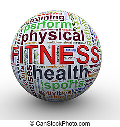 Fitness worcloud word tags ball - 3d Illustration of sphere ...