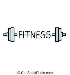 fitness word and barbells concept- vector illustration