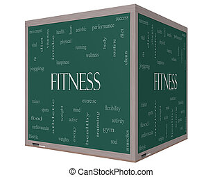 Fitness Word Cloud Concept on a 3D cube Blackboard
