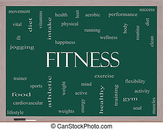 Fitness Word Cloud Concept on a Blackboard