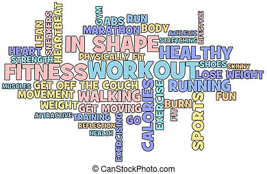 Fitness word cloud - Fitness themed word cloud isolated on ...