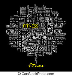 FITNESS. Word cloud illustration. Tag cloud concept collage.