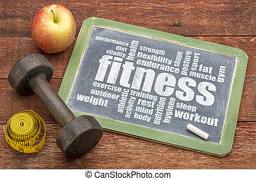 fitness word cloud on blackboard
