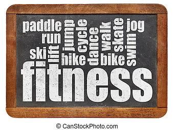 fitness word cloud on a vintage slate blackboard isolated on...