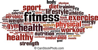 Fitness word cloud concept. Vector illustration