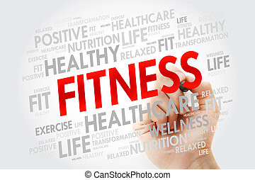 FITNESS word cloud with marker