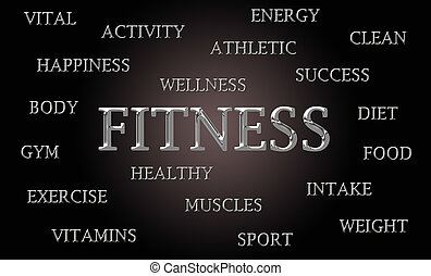 Fitness word cloud written in luxurious chrome lettets