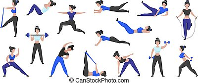 Fitness workout. Cartoon woman character doing sport exercises and training in gym, isolated female character. Vector set