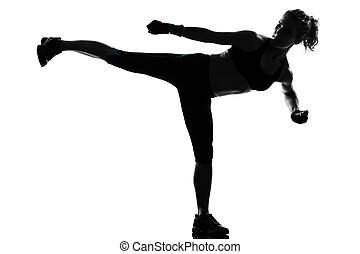 fitness, workout, vrouw, houding