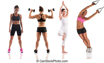 Fitness workout with women coach