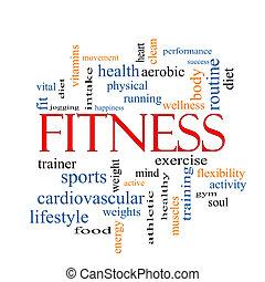 fitness, wort, wolke, begriff