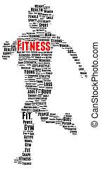 fitness, wort, wolke, form