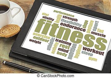 fitness, wort, wolke