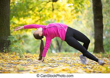 fitness:, yoga framställ, höst, ting, vild