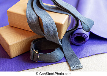 Fitness yoga pilates equipment props on carpet - Fitness ...