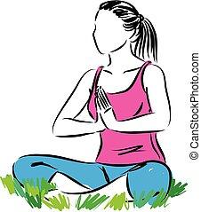 fitness yoga woman meditation vector illustration