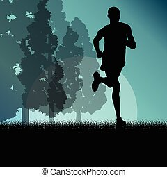 Fitness young man runner running in forest landscape vector illustration