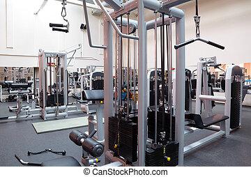 fitness, zaal, lege, centrum
