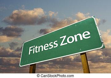 fitness, zone, grün, straße zeichen, und, wolkenhimmel