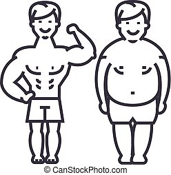 fitness,before and after,strong man,fat guy vector line...