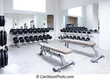 fitnessclub, gewicht training, uitrusting, gym