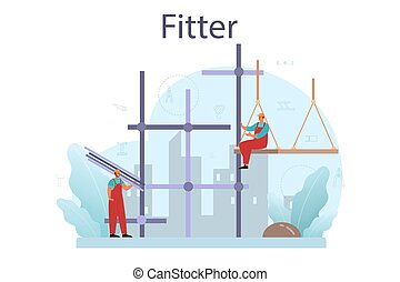 Fitter or installer. Industrial builder at the construction ...