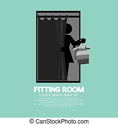 Fitting Room Black Graphic Vector.