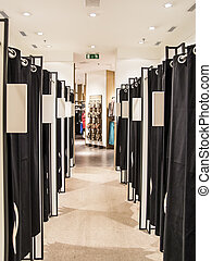 Fitting Rooms In A Women Shoe Store