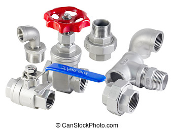 fitting - various parts of metal pipes and faucets
