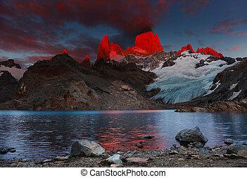 fitz, aufstellen, patagonia, argentinien, roy