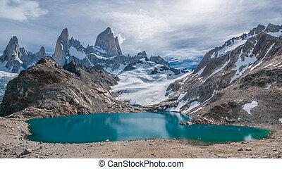 fitz, roy, berg, und, laguna, de, los, tres, patagonia,...