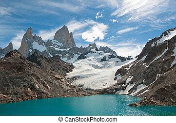 fitz, roy, montaña, y, laguna, de, los, tres, patagonia, argentina