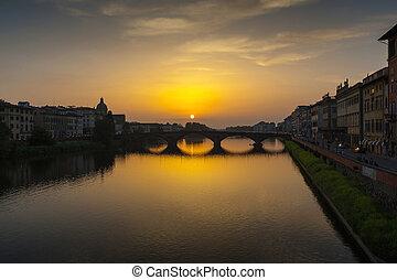 fiume arno, e, ponte vecchio, in, firenze