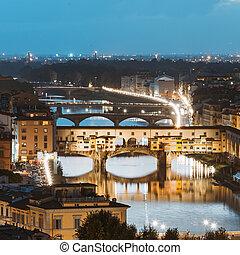 fiume arno, e, ponti, ponte vecchio