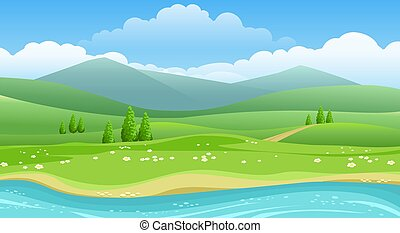 fiume, colline, estate, panorama