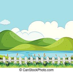 fiume, colline, fondo, scena