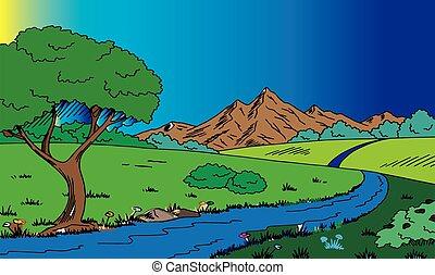 fiume, colline, naturale, vista