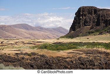 fiume, columbia, horsethief, stato washington, butte, valle