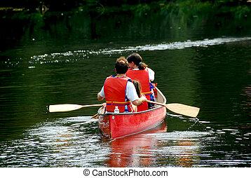 fiume, famiglia, canoa